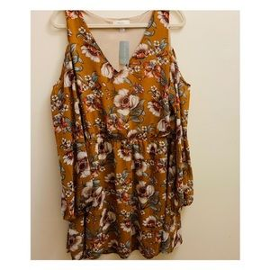 Forever 21 NWT Shoulder LS Dress Ginger Floral 2X